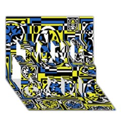 Blue And Yellow Decor Take Care 3d Greeting Card (7x5) by Valentinaart