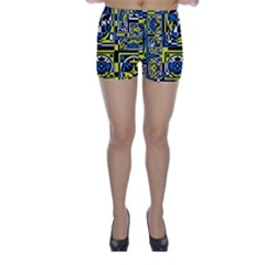 Blue And Yellow Decor Skinny Shorts by Valentinaart