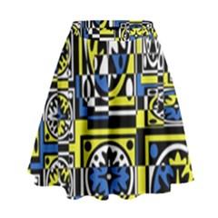 Blue And Yellow Decor High Waist Skirt by Valentinaart