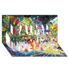 Multicolor Anime Colors Colorful Laugh Live Love 3D Greeting Card (8x4) by Zeze