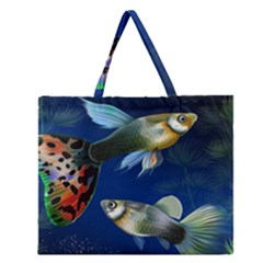 Marine Fishes Zipper Large Tote Bag by Zeze