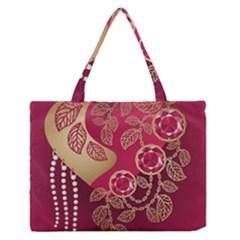 Love Heart Medium Zipper Tote Bag