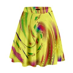 Leaf And Rainbows In The Wind High Waist Skirt by pepitasart