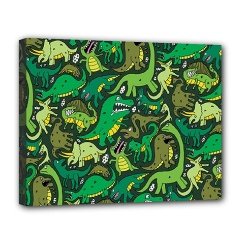 Dino Pattern Cartoons Canvas 14  X 11  by AnjaniArt