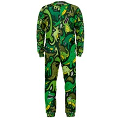 Dino Pattern Cartoons Onepiece Jumpsuit (men)  by AnjaniArt