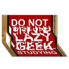 Do Not Disturb Lazy Geek Studying Glass Framed Poster Merry Xmas 3d Greeting Card (8x4) by AnjaniArt