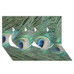 Peacock Feathers Macro Twin Hearts 3d Greeting Card (8x4) by GiftsbyNature