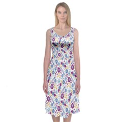 Retro Candy Floral Doodles Midi Sleeveless Dress