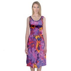 Purple Painted Floral And Succulents Midi Sleeveless Dress by Contest2481019