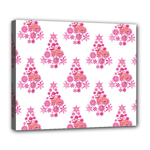 Pink Flamingo Santa Snowflake Tree  Deluxe Canvas 24  X 20   by CrypticFragmentsColors