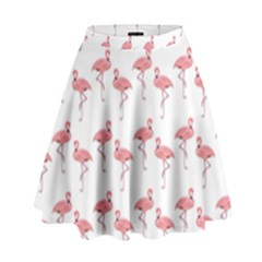 Pink Flamingo Pattern High Waist Skirt by CrypticFragmentsColors