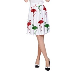 Flamingo Christmas Pattern Red Green A Line Skirt by CrypticFragmentsColors