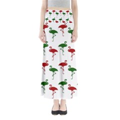 Flamingo Christmas Pattern Red Green Maxi Skirts