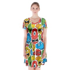 Face Creeps Cartoons Fun Short Sleeve V Neck Flare Dress
