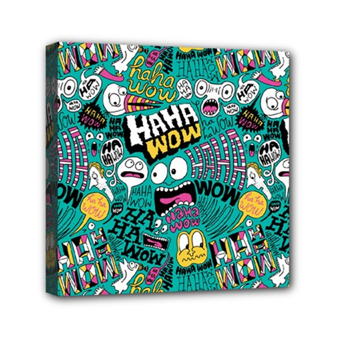 Haha Wow Pattern Mini Canvas 6  x 6  by AnjaniArt