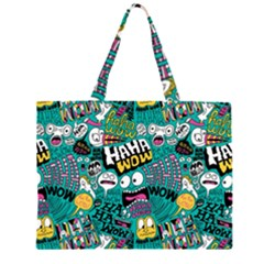Haha Wow Pattern Large Tote Bag by AnjaniArt