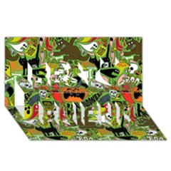 Halloween Pattern Best Friends 3d Greeting Card (8x4) by AnjaniArt