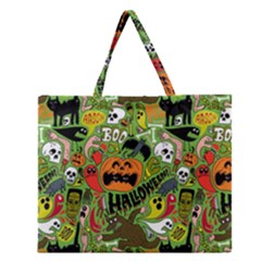 Halloween Pattern Zipper Large Tote Bag by AnjaniArt