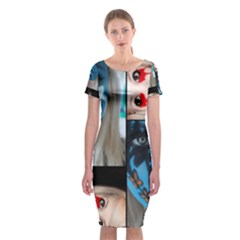 Holliwood Face Painting Classic Short Sleeve Midi Dress by AnjaniArt
