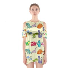 Group Of Funny Dinosaurs Graphic Cutout Shoulder Dress by Zeze