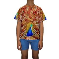 Fractal Peacock Art Kids  Short Sleeve Swimwear