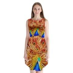Fractal Peacock Art Sleeveless Chiffon Dress   by Zeze