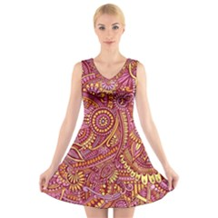 Pink Yellow Hippie Flower Pattern Zz0106 V-Neck Sleeveless Skater Dress by Zandiepants