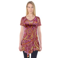 Pink Yellow Hippie Flower Pattern Zz0106 Short Sleeve Tunic  by Zandiepants