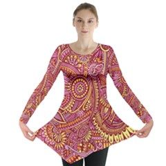 Pink Yellow Hippie Flower Pattern Zz0106 Long Sleeve Tunic  by Zandiepants