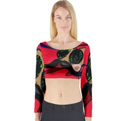 Mr Fly Long Sleeve Crop Top by Valentinaart