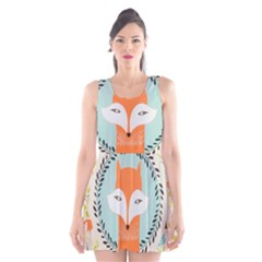Foxy Fox Art Print Traditional Scoop Neck Skater Dress by Mugomugo