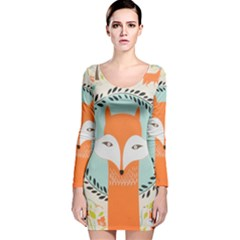 Foxy Fox Art Print Traditional Long Sleeve Velvet Bodycon Dress