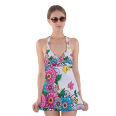 Flowers Pattern Vector Art Halter Swimsuit Dress by Zeze
