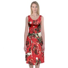Rose Red Midi Sleeveless Dress by Contest2481019