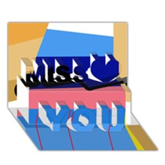 Jumping Miss You 3d Greeting Card (7x5)