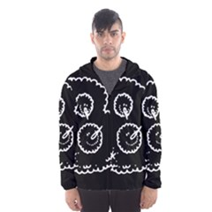 Funny Black And White Doodle Snowballs Hooded Wind Breaker (men) by yoursparklingshop