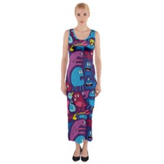 Mo Monsters Mo Patterns Fitted Maxi Dress by AnjaniArt