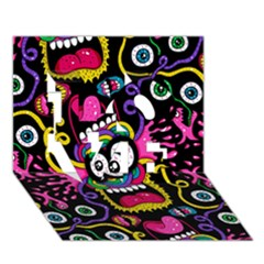 Monster Face Mask Patten Cartoons Love 3d Greeting Card (7x5) by AnjaniArt