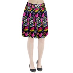 Monster Face Mask Patten Cartoons Pleated Skirt by AnjaniArt