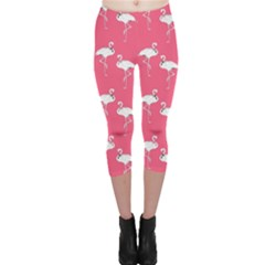 Flamingo White On Pink Pattern Capri Leggings  by CrypticFragmentsColors