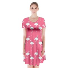 Flamingo White On Pink Pattern Short Sleeve V Neck Flare Dress