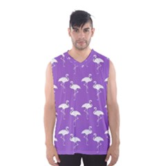 Flamingos Pattern White Purple Men s Basketball Tank Top by CrypticFragmentsColors