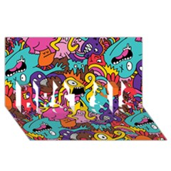 Monsters Pattern BEST SIS 3D Greeting Card (8x4) by AnjaniArt