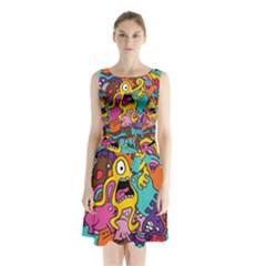 Monsters Pattern Sleeveless Chiffon Waist Tie Dress by AnjaniArt