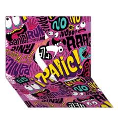 Panic Pattern Ribbon 3d Greeting Card (7x5) by AnjaniArt