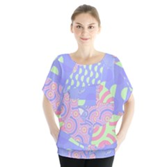 Abstract Geometric Pattern Bright Pastel Blouse
