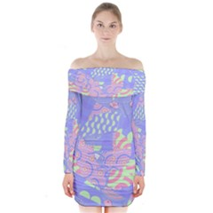 Abstract Geometric Pattern Bright Pastel Long Sleeve Off Shoulder Dress