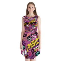 Panic Pattern Sleeveless Chiffon Dress   by AnjaniArt
