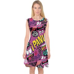 Panic Pattern Capsleeve Midi Dress by AnjaniArt