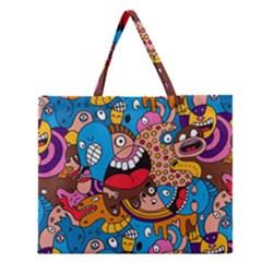 People Face Fun Cartoons Zipper Large Tote Bag by AnjaniArt